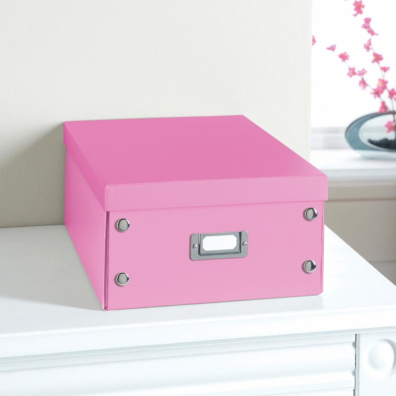 Plain Paper Storage Box Large Pink Stationery Filing