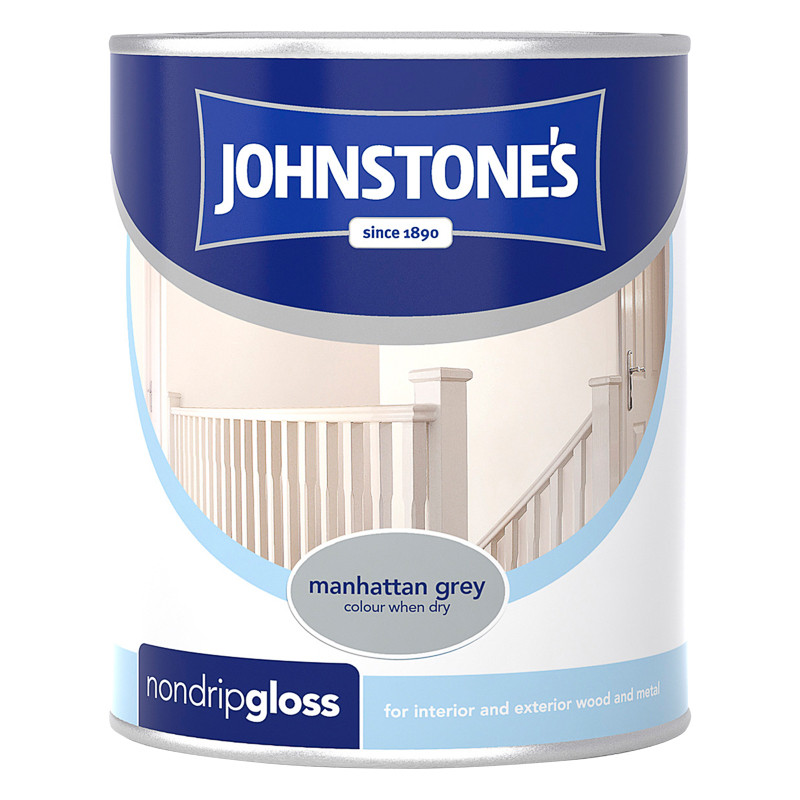 Johnstone S Non Drip Gloss Paint Manhattan Grey 750ml Diy