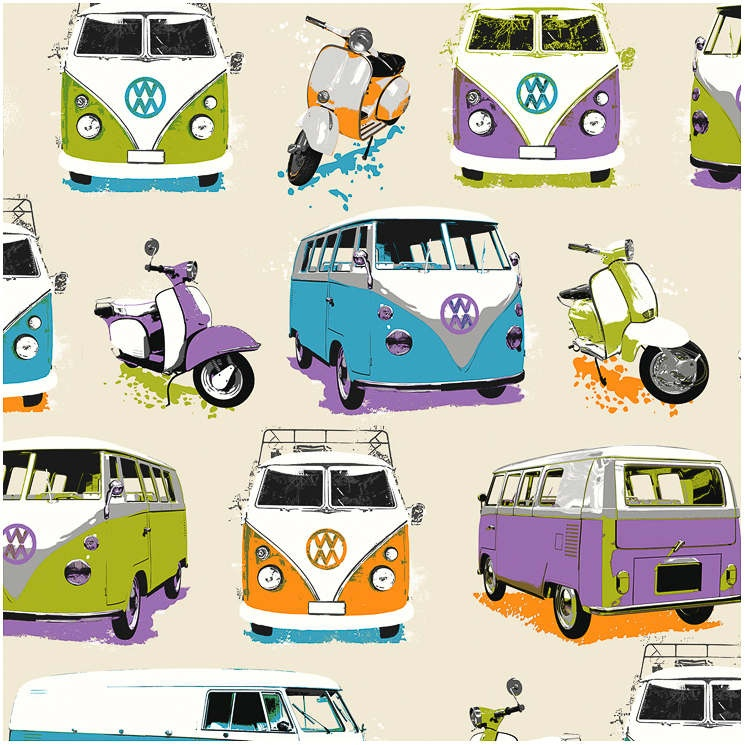 B&M: > Muriva For Your Home Camper Van Multicoloured Motif