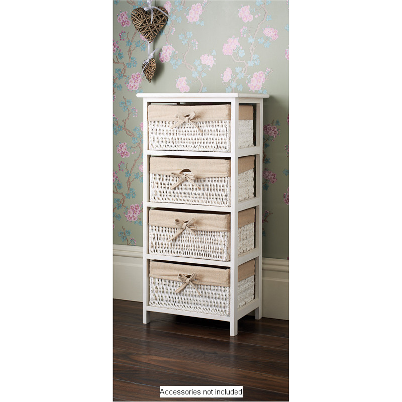 Buy Wicker Storage Basket Kitchen Drawer Style From The: B&M Juliet 4 Drawer Basket Unit - 333865
