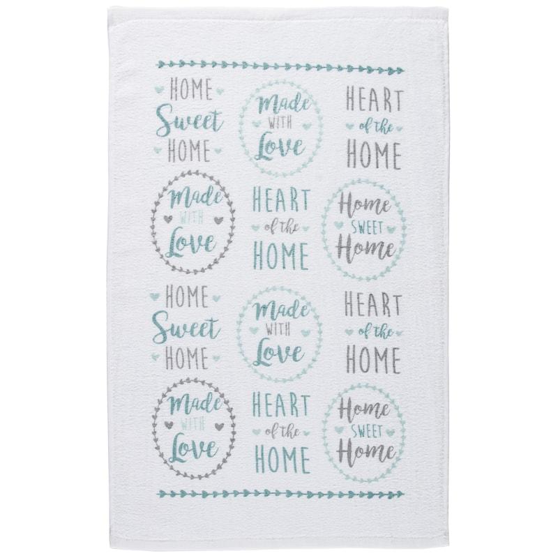 Oxford Velour Tea Towels 3pk Home Sweet Home Kitchen B M