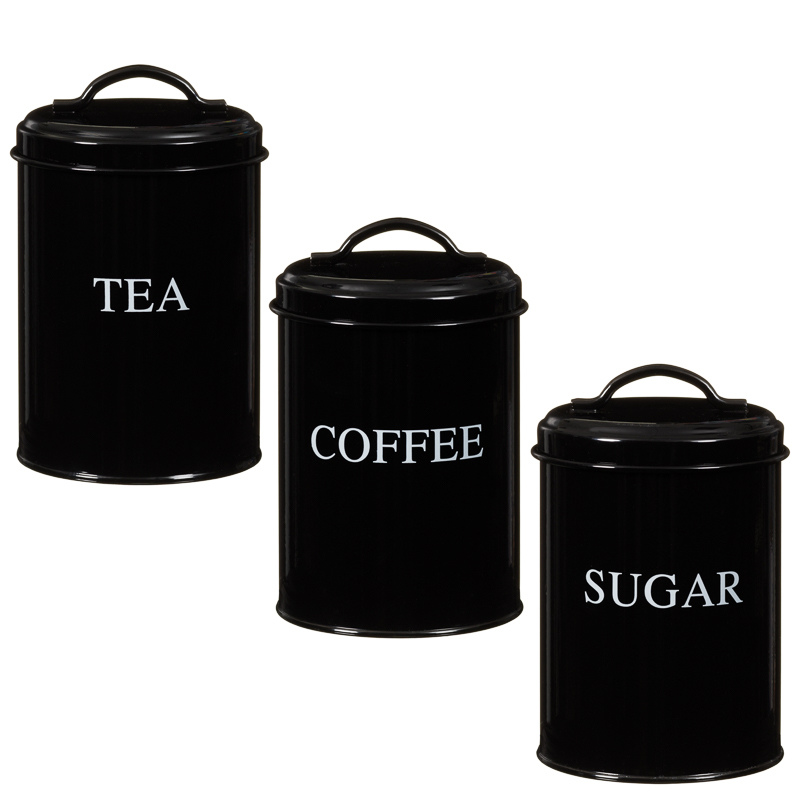 Black Tea Coffee Sugar Canisters B M