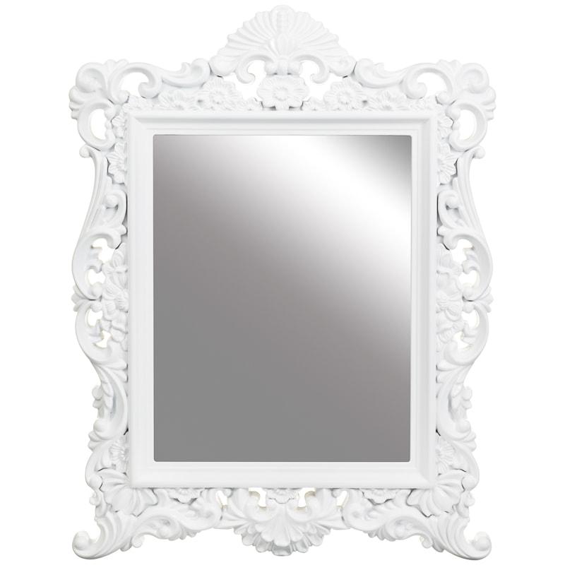 281375 vintage ornate white mirror 64x84x4cm - White Frame Mirror