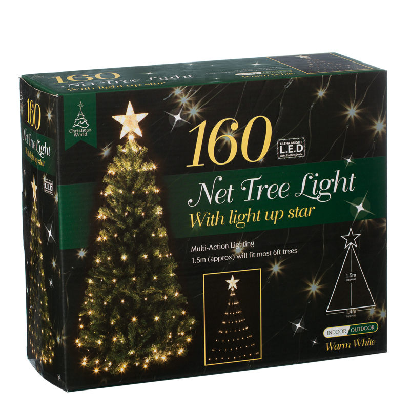 B&M 160 LED Tree Net Christmas Light With Star