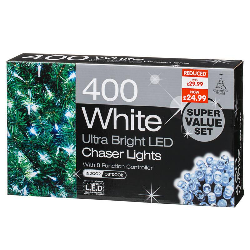 B M 400 Led Cool White Chaser Christmas Lights 281935