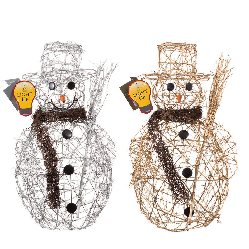 B m large rattan light up snowman christmas decorations for B m xmas decorations