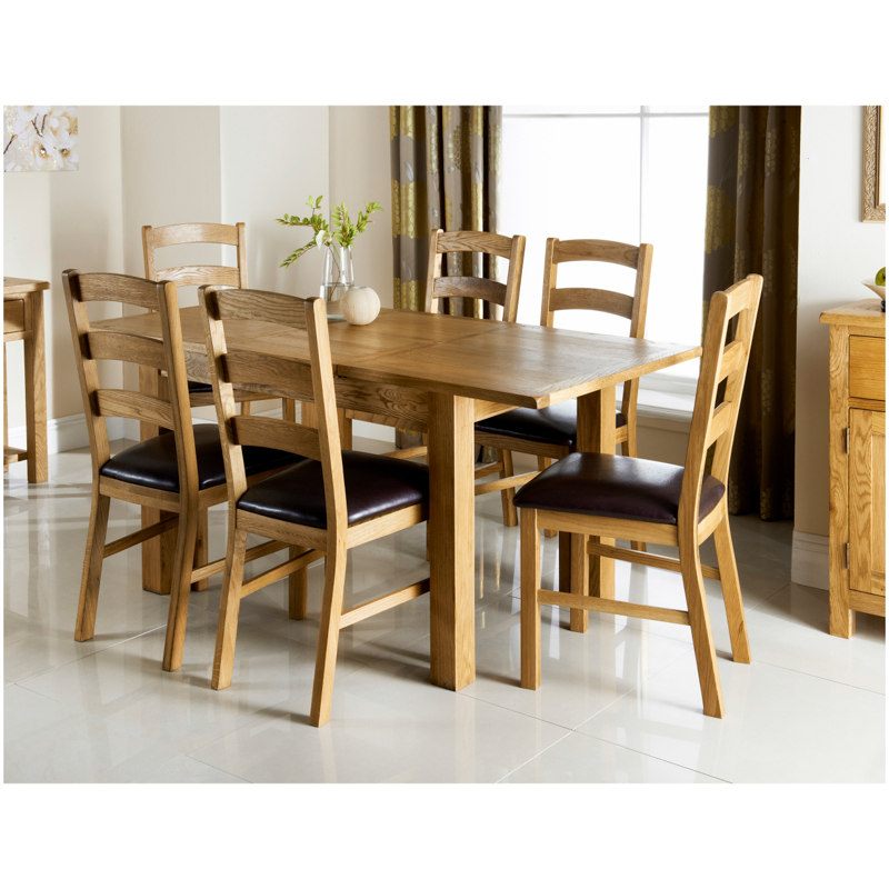 Wiltshire oak dining set 7pc dining room furniture b m - Cheap living room furniture sets uk ...