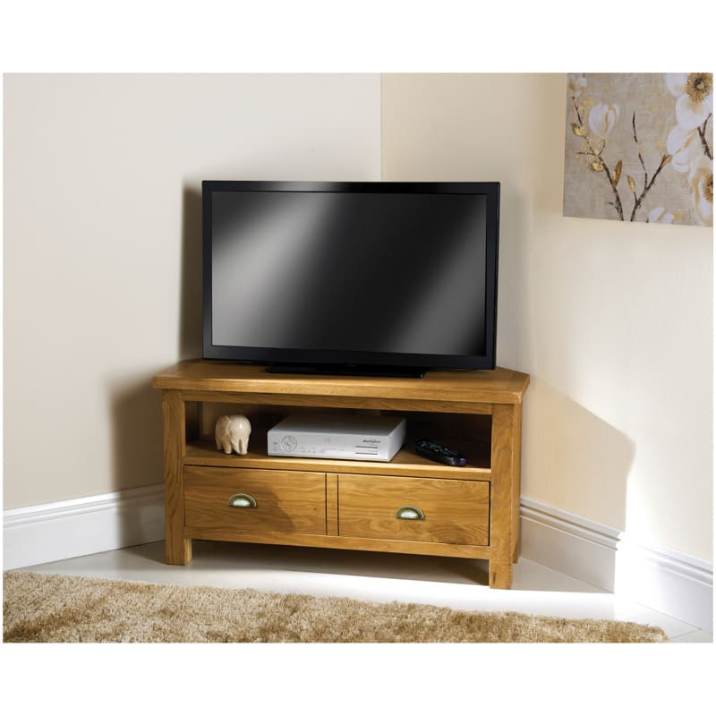 Wiltshire Oak Corner TV Unit | Living Room Furniture - B&M