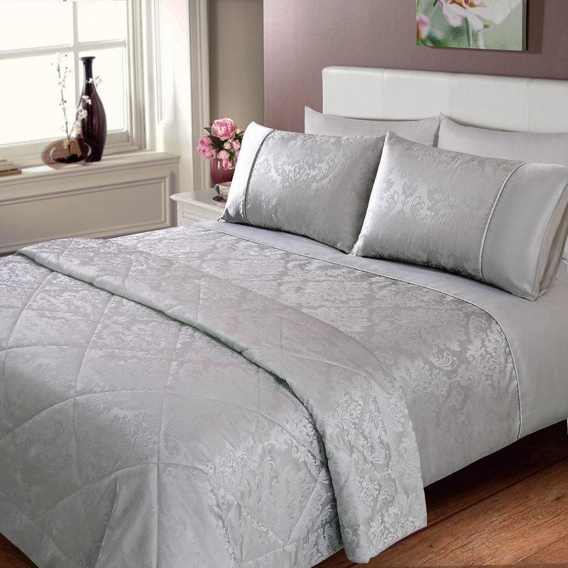 Elizabeth Jacquard Damask Bedspread Silver Bedding