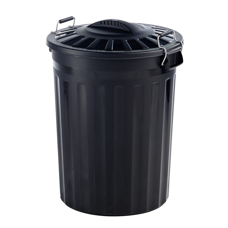 Black Kitchen Bin Sale: B&M Refuse Bin With Metal Clip Handles 80L - 286340