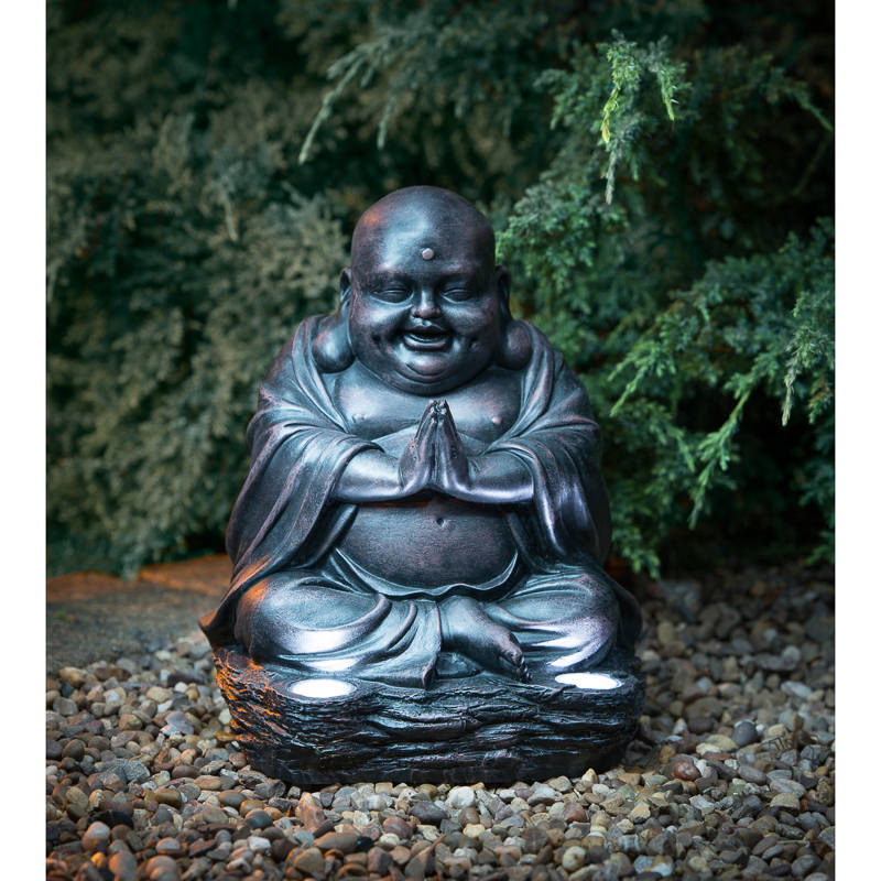 Laughing Buddha With Solar Light Garden Decorations