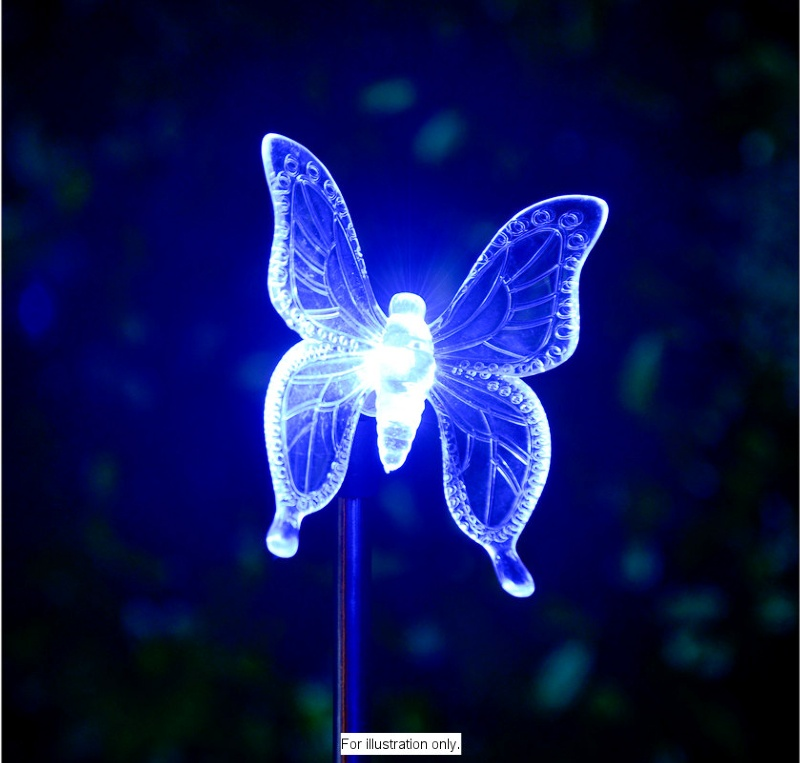 B Amp M Colour Changing Solar Stake Light Butterfly