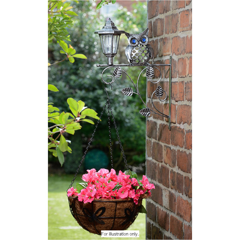 B Amp M Gt Owl Hanging Basket Bracket With Solar Light