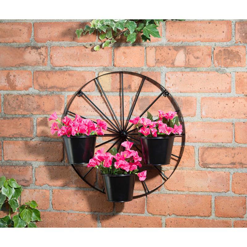 B Amp M Gt Wagon Wheel 3 Pot Wall Planter 287245