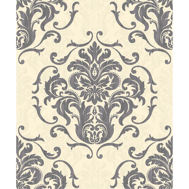 B m interiors chelsea black white damask wallpaper 288202 for Black white damask wallpaper mural
