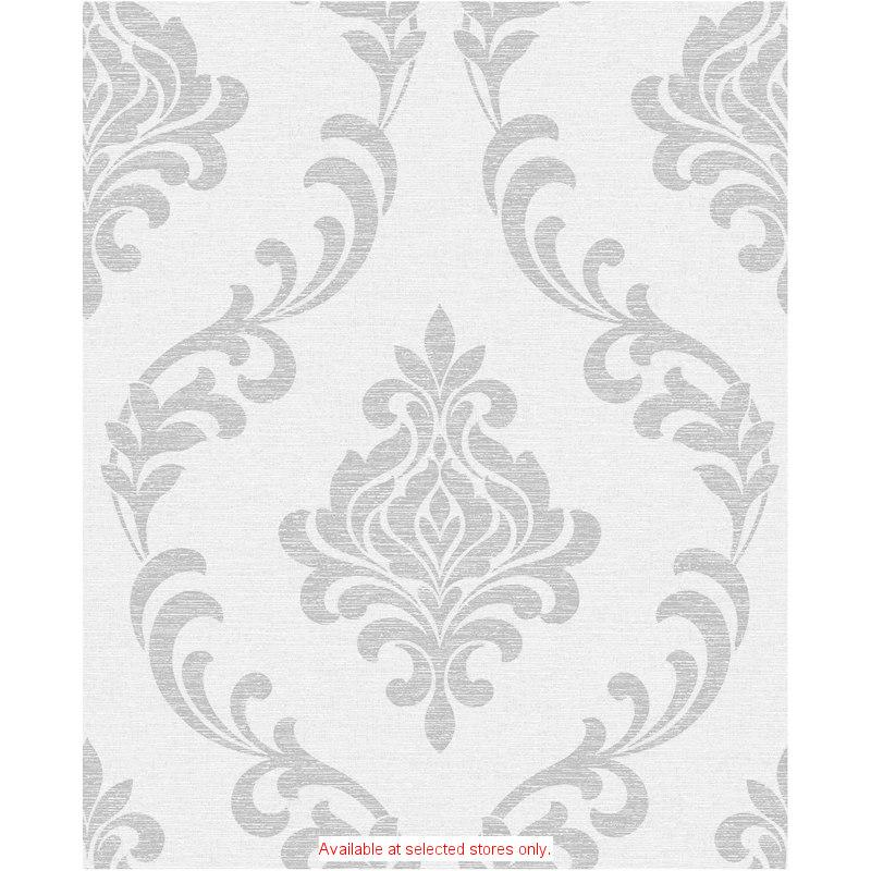 b amp m gt fine decor torino white silver damask wallpaper