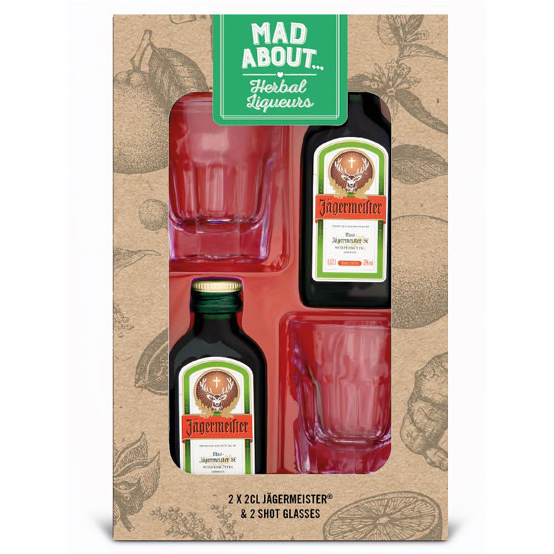 Christmas Alcohol Gift Sets.Jagermeister 2 X 2cl Shot Glass Gift Set