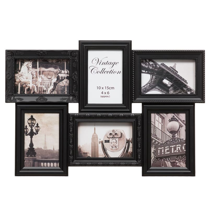 B&M 6 Aperture Vintage 3D Photo Frame - Black - 3270371 | B&M