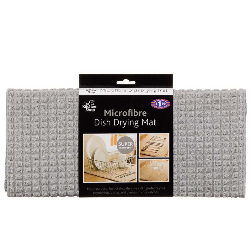 Microfibre Dish Drying Mat Grey Kitchen Accessories