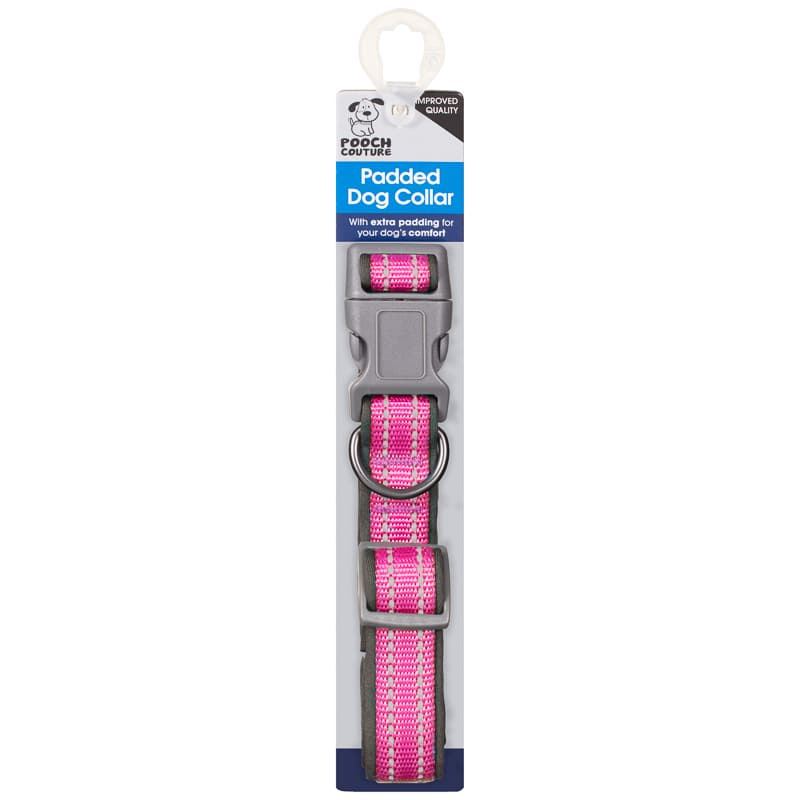 Large Padded Comfort Dog Collar - Pink