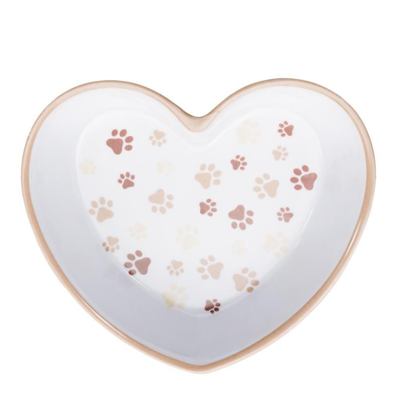 Heart Shaped Bowl - Brown Paws