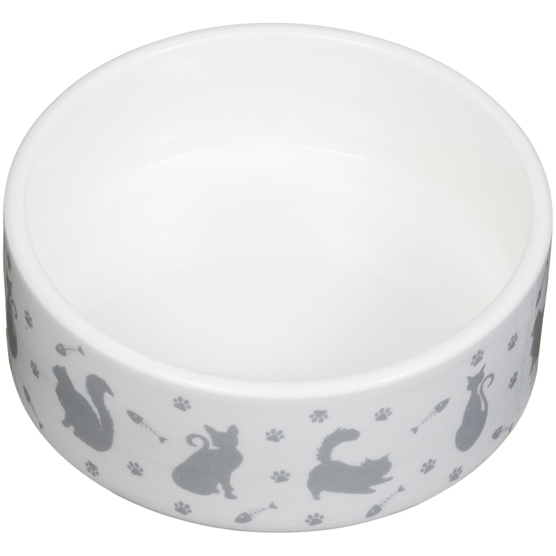 Small Ceramic Pet Bowl Cat Silhouette Pet Bowls B Amp M
