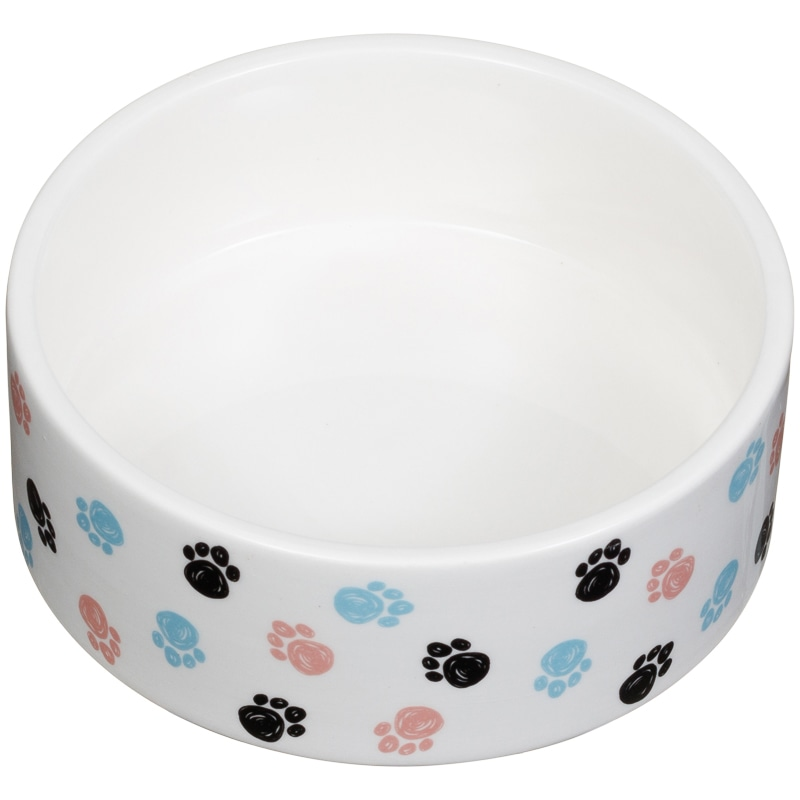 Small Ceramic Pet Bowl Pastel Paws Pet Bowls B Amp M