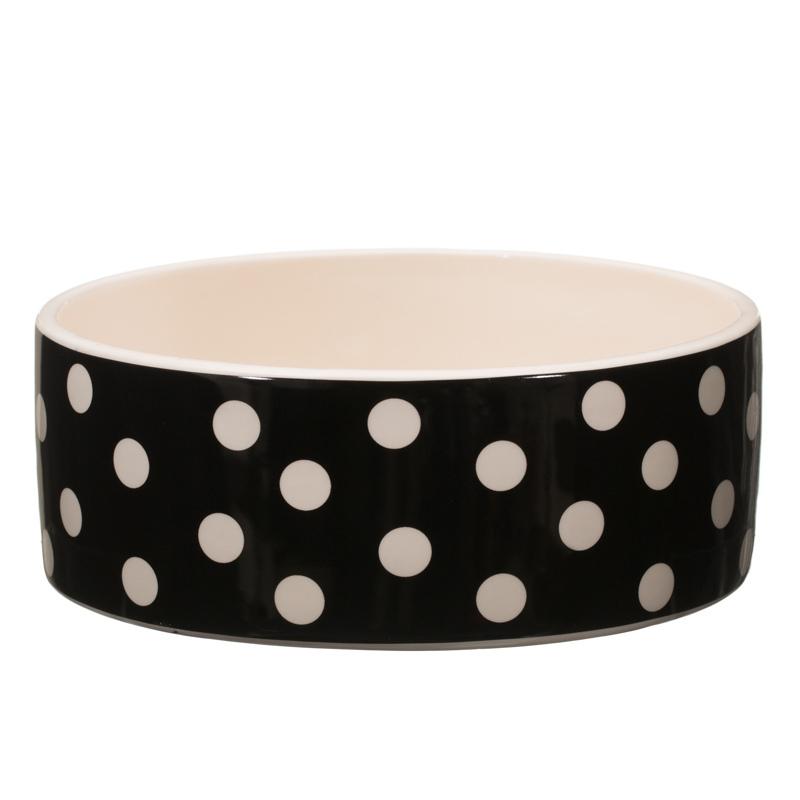 Camping bathroom accessories - Ceramic Pet Bowl Black Spots 2912541 B Amp M