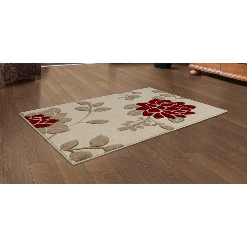 b m red floral carved rug 110 x 160cm 291475. Black Bedroom Furniture Sets. Home Design Ideas