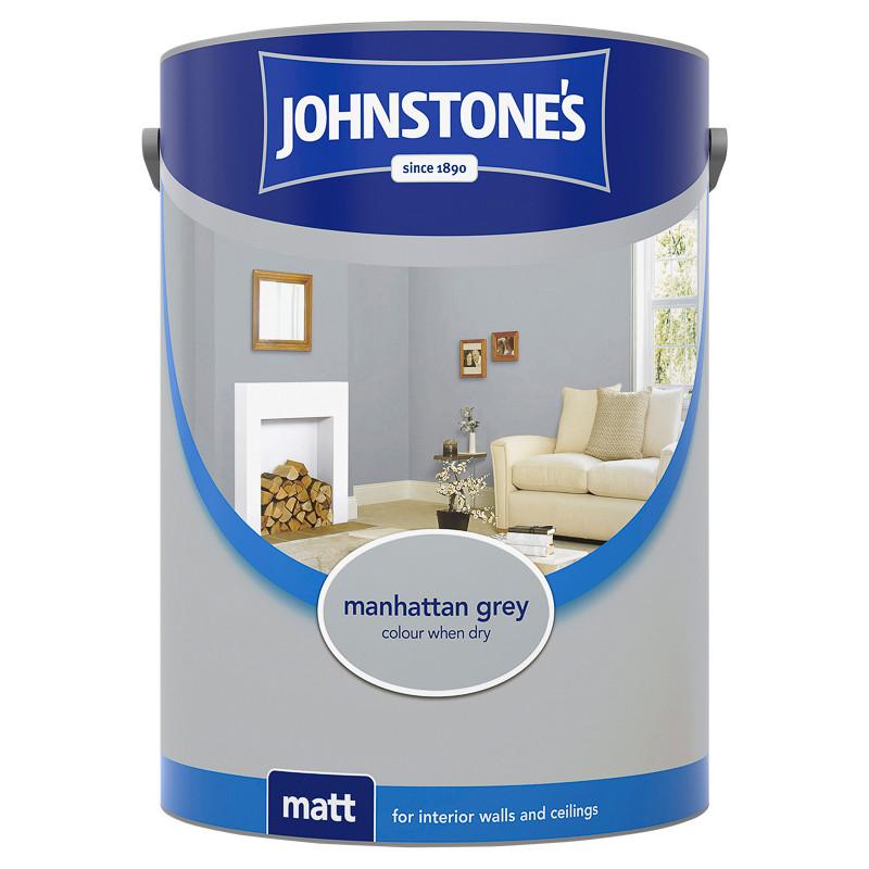 Johnstone S Paint Vinyl Matt Emulsion Manhattan Grey 5l