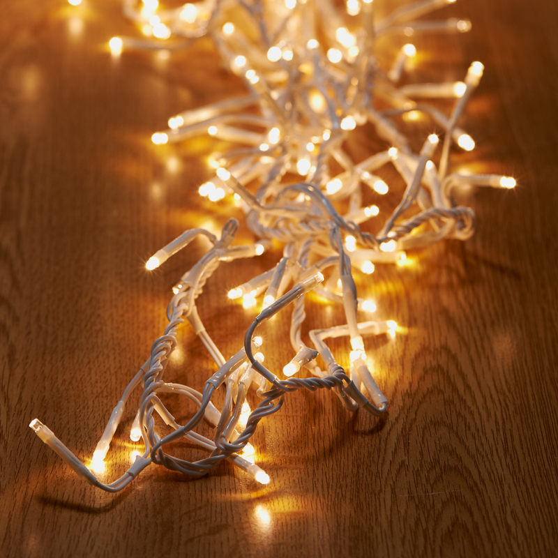 Christmas Workshop Cluster Lights: 480 Cluster Christmas Lights - Warm White