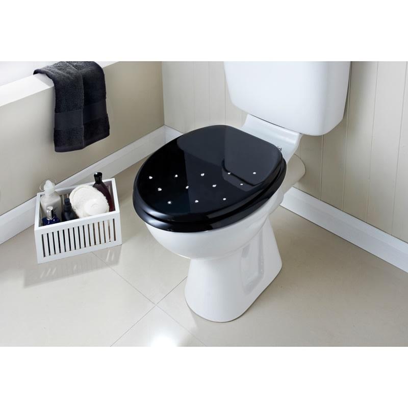Moulded Wood Diamante Toilet Seat Black Scatter Bathroom BM - Black wooden toilet seat