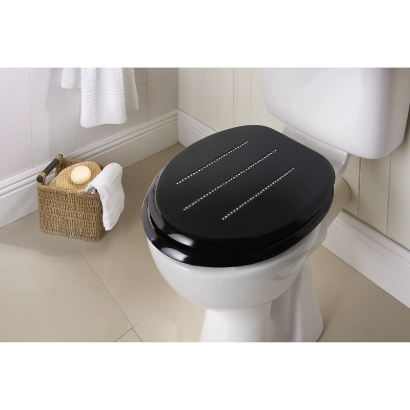 Moulded Wood Diamante Toilet Seat Black Stripe Bathroom BM - Black wooden toilet seat