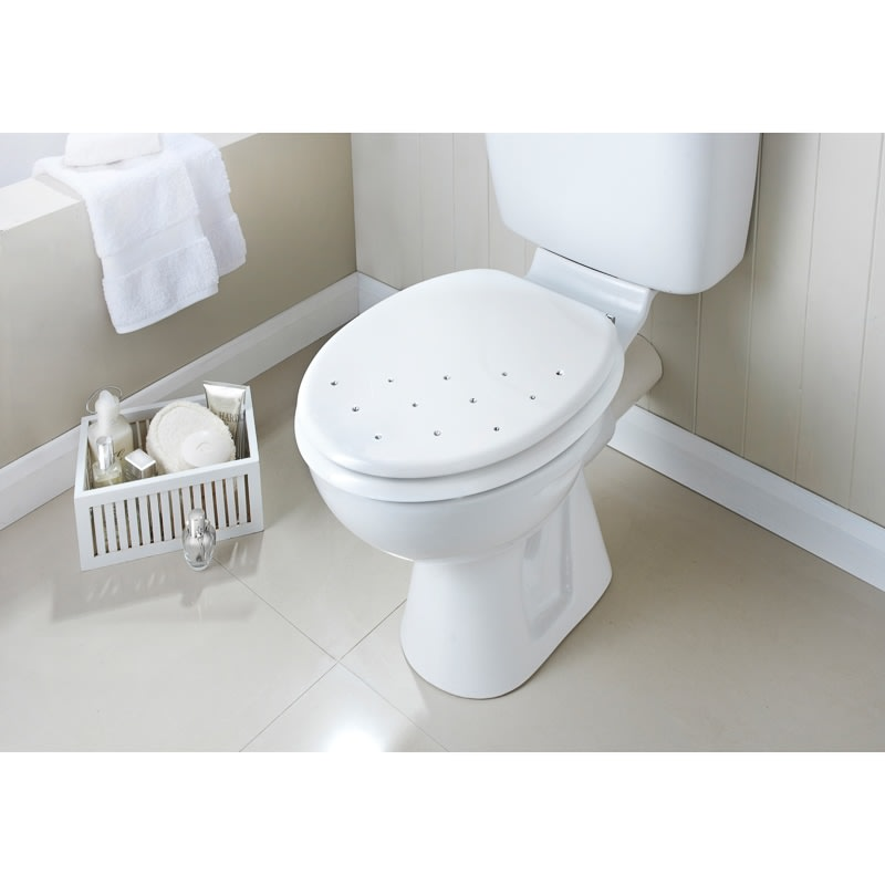 wooden white toilet seat. Moulded Wood Diamante Toilet Seat  White Scatter Cheap Seats From B M Stores