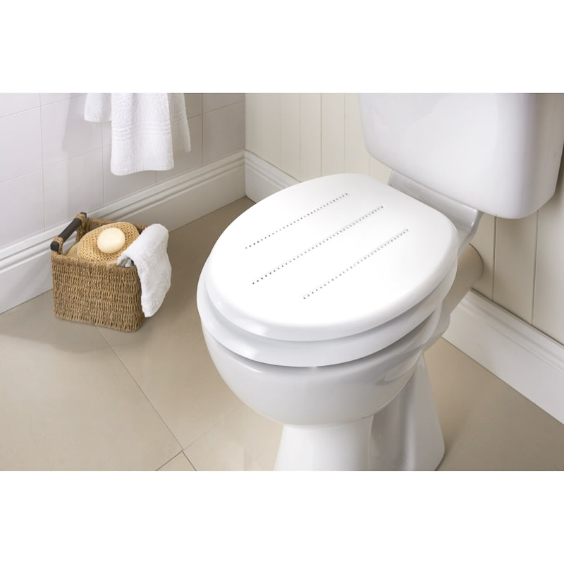 wooden white toilet seat. Moulded Wood Diamante Toilet Seat  White Stripe Cheap Seats From B M Stores