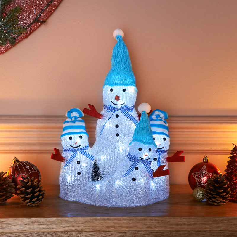 B m crystal light up snowman family decoration 292278 for Light up christmas decorations