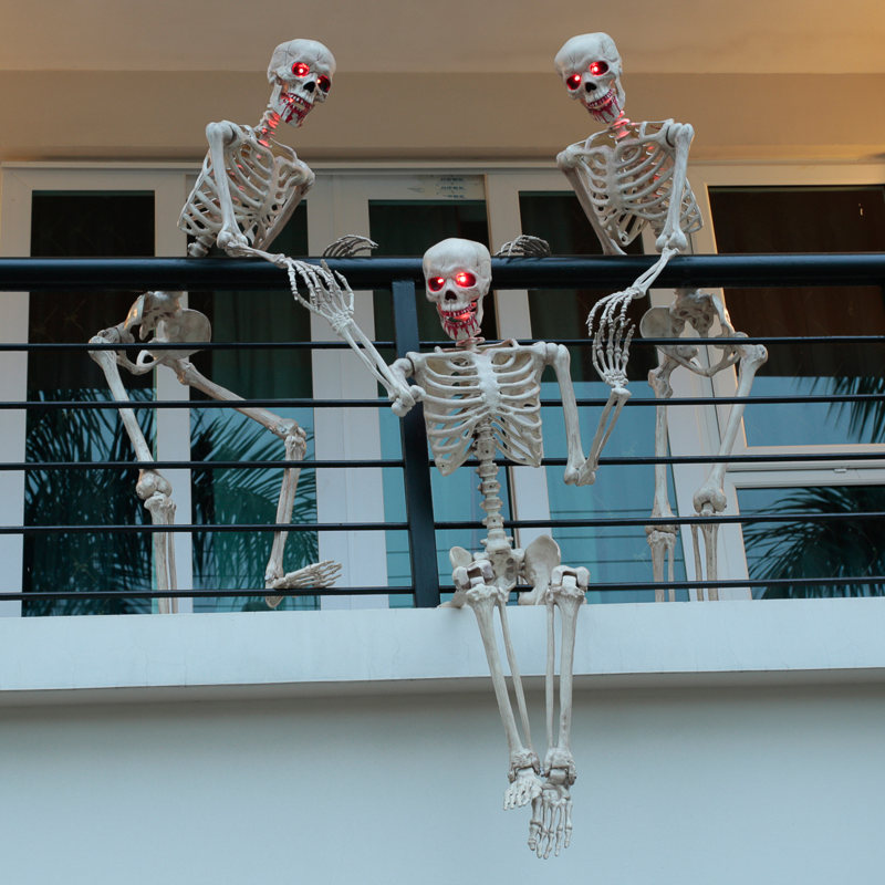 Pose stay led skeleton halloween decorations b m for B m halloween decorations