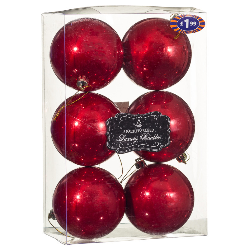 B m 80mm pearlised luxury baubles 6pk christmas decorations for B m christmas decorations
