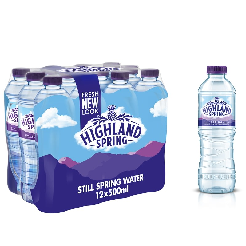 Highland Spring Still Spring Water 12 X 500ml Bottled Water