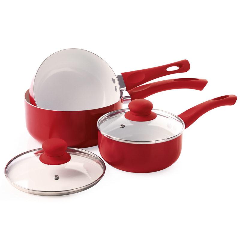 Russell Hobbs Ceramic Saucepan Set 3pc 293667 B Amp M