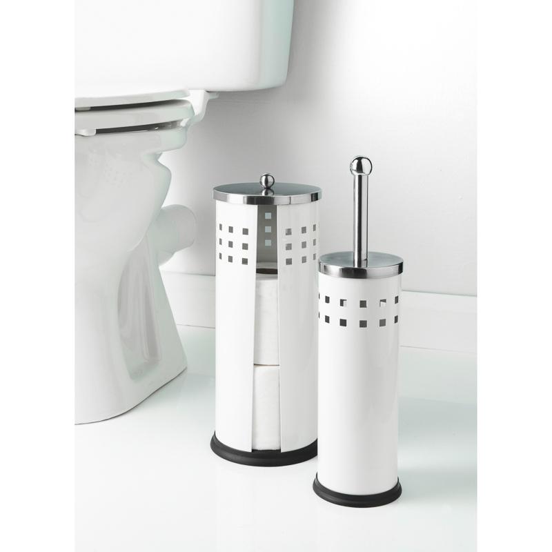 B m toilet brush roll holder set 2pc 324322 b m for Bathroom accessories toilet roll holder