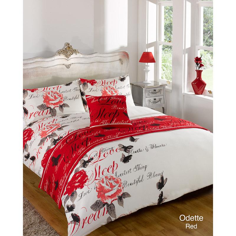 Floral Bed In A Bag King Size Odette Red 2941472 B Amp M