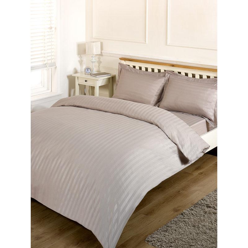 Silentnight satin stripe complete bed set king bedding b m for Complete bedroom sets with mattress