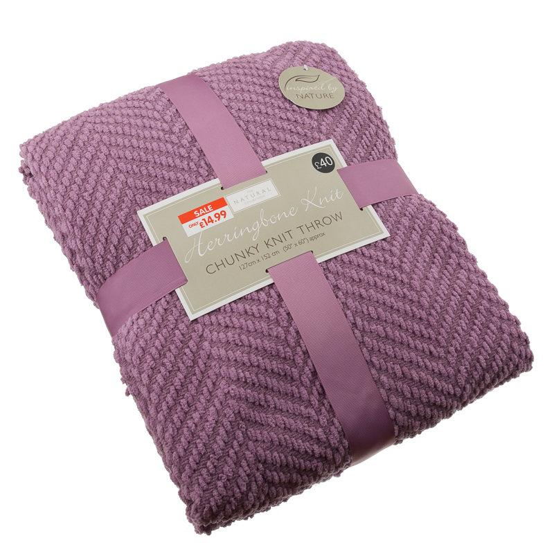B Amp M Gt Herringbone Knit Throw Mauve 2943004