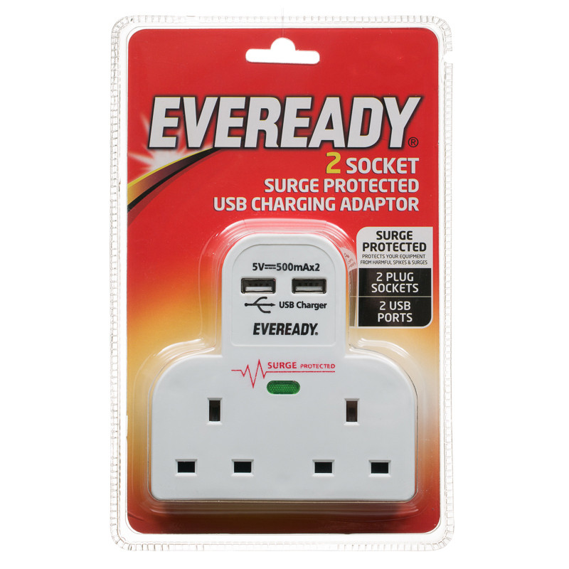 B&M Eveready 2 Socket Extension Lead with 2 USB Chargers ...