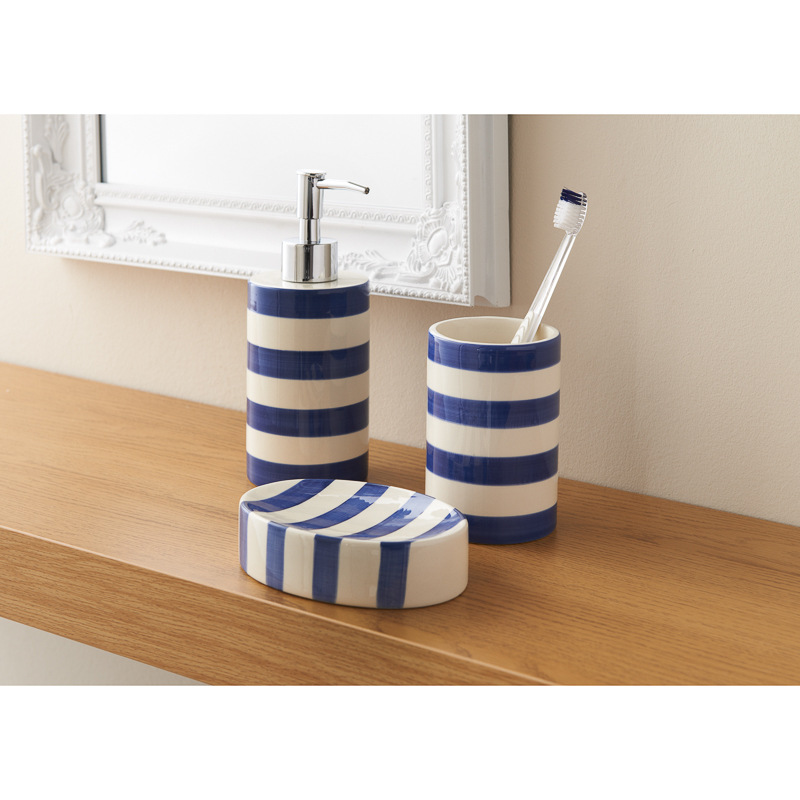 B m colour stripe bathroom set 3pc 317092 b m for Navy bathroom accessory sets