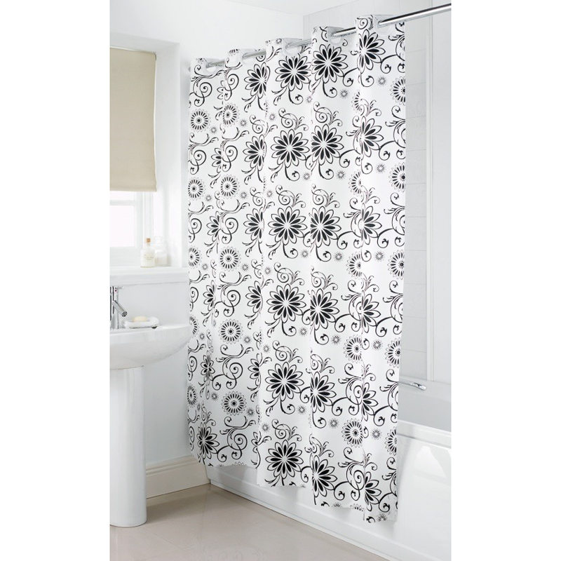 B M Hookless Shower Curtain Silver Floral 2952171