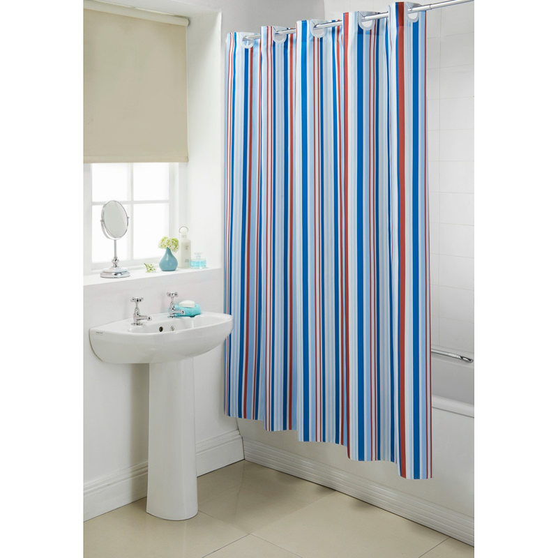 NAUTICAL WATER RESISTANT 100% POLYESTER HOOKLESS BATH
