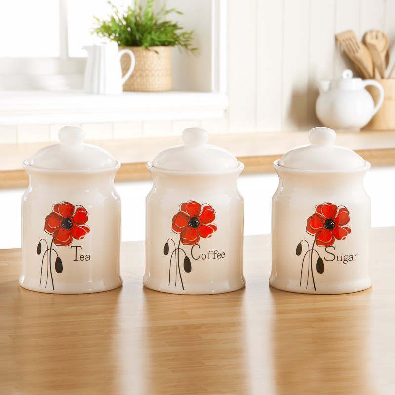 B M Poppy Tea Coffee Sugar Canisters Food Storage Jars