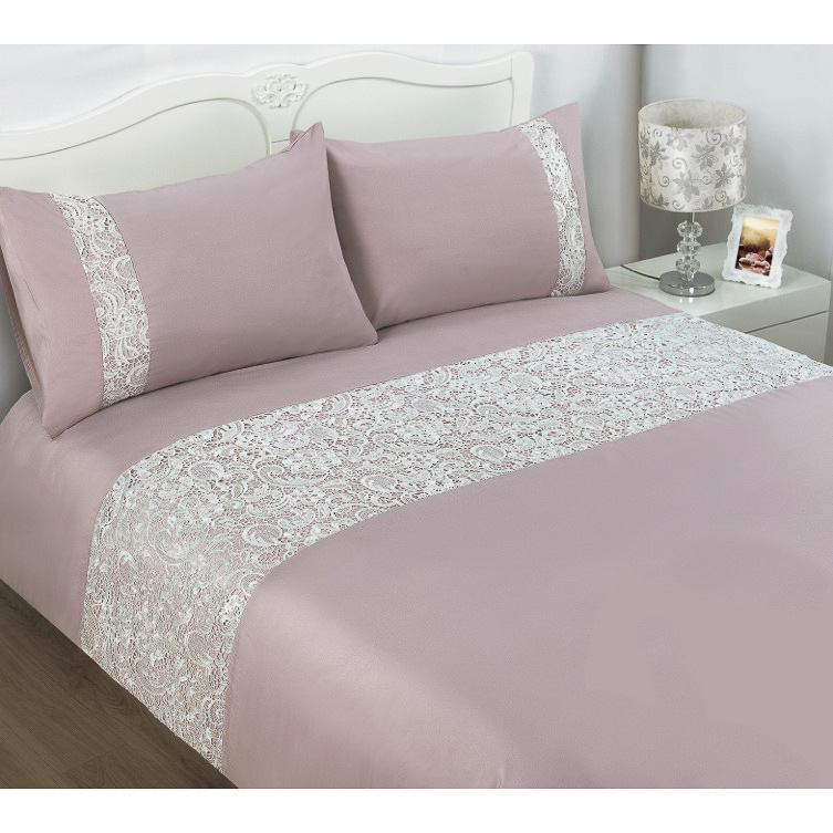 BampM Pisa Lace Double Duvet Set